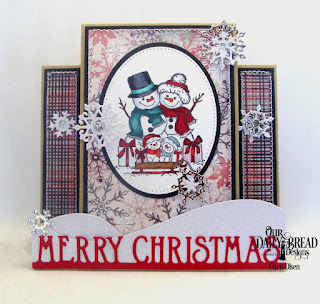 Our Daily Bread designs, snowman family, ovals, snow crystals, pierced ovals, curvy slopes, merry christmas border, center step, designed by Chris Olsen