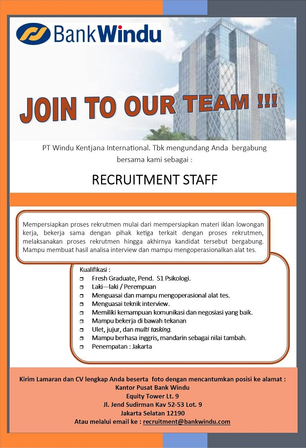 Lowongan Kerja Recruitment Staff Bank Windu