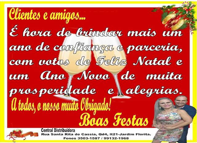 O Silva e sua família da Central Distribuidora de Abadia de Goiás, deseja aos seus clientes e amigo