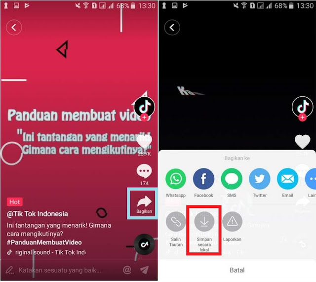 Cara Menyimpan / Download Video Tik Tok ke Galeri HP