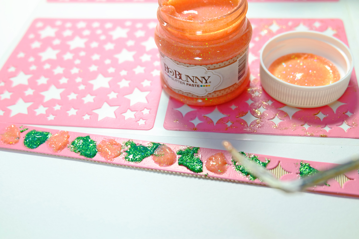 Then I Painted The Orange Citrus Glitter Paste Between The Emerald Glitter Paste