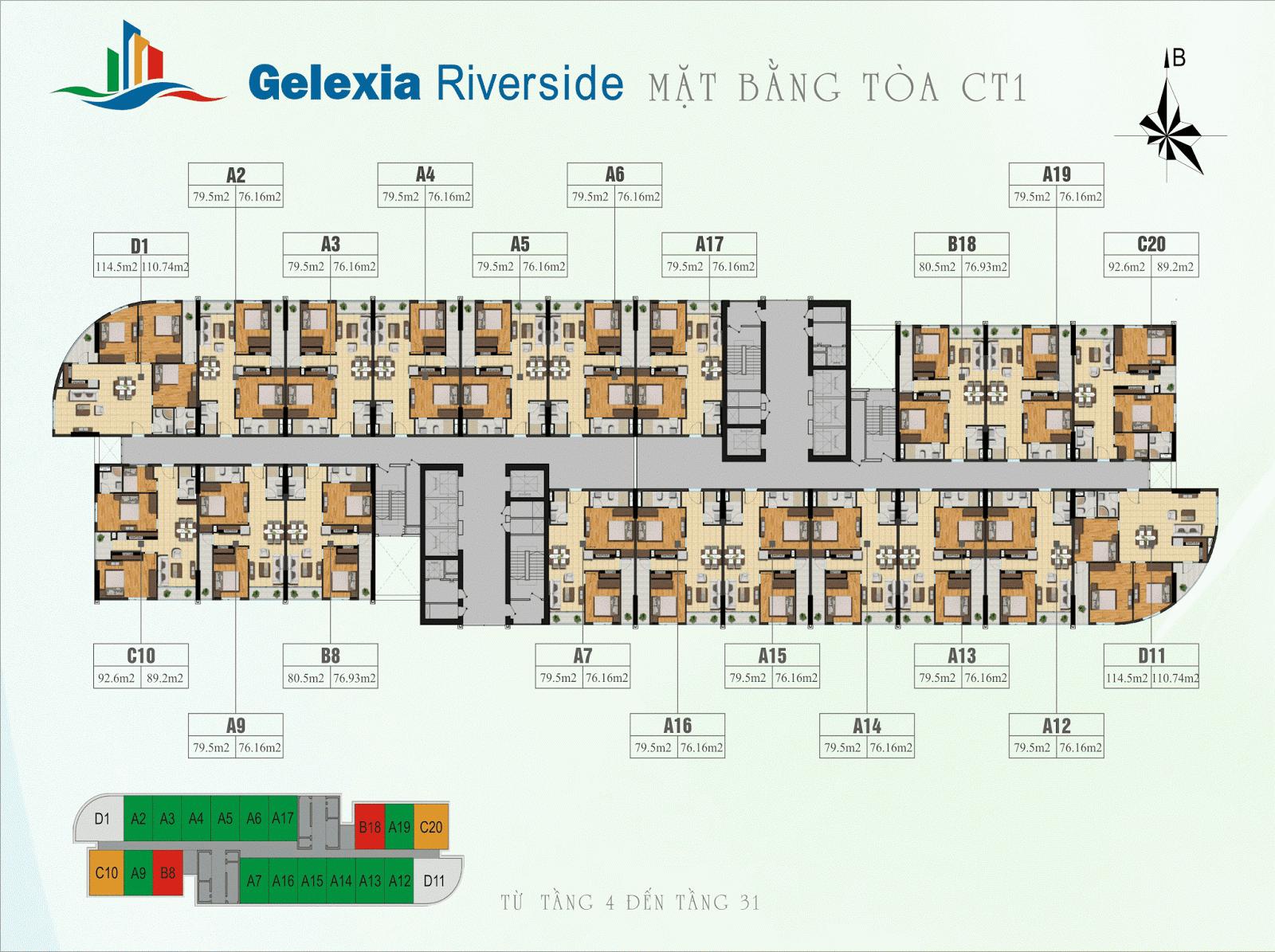 Mặt bằng điển hình tòa CT1 - Gelexia Riverside