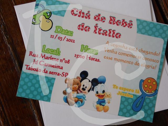 Convite Padrão - Chá de Bebê Disney Baby
