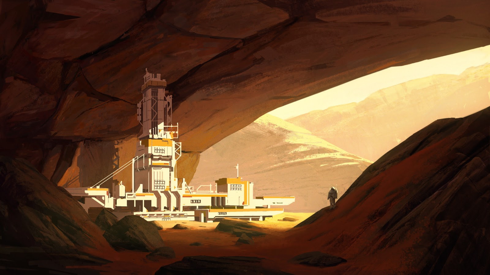 Human base in Martian cave by Natalia Babiy