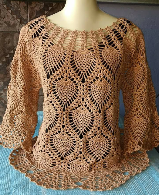 Beautiful pineapple crochet blouse with video tutorial