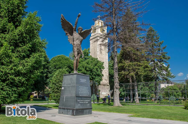 Monument Angel and Clock Tower - Bitola, Macedonia