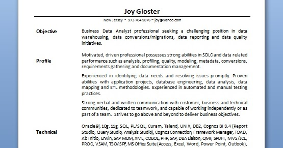 business data analyst resume format in word free download