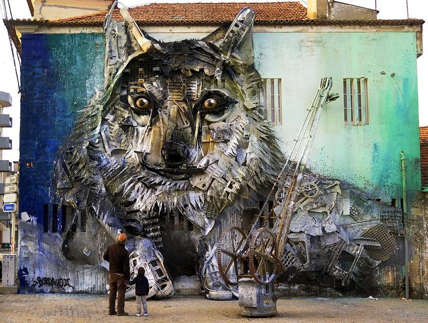 Serigala - Seni Lukisan Binatang Menakjubkan Dan Kreatif Dari Bahan Sampah