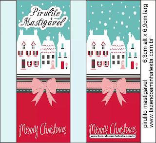 Navidad Retro: Etiquetas para Candy Bar para Descargar Gratis.