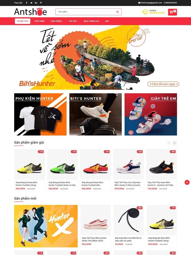 Theme blogspot bán giày chuẩn seo Ant Shoes
