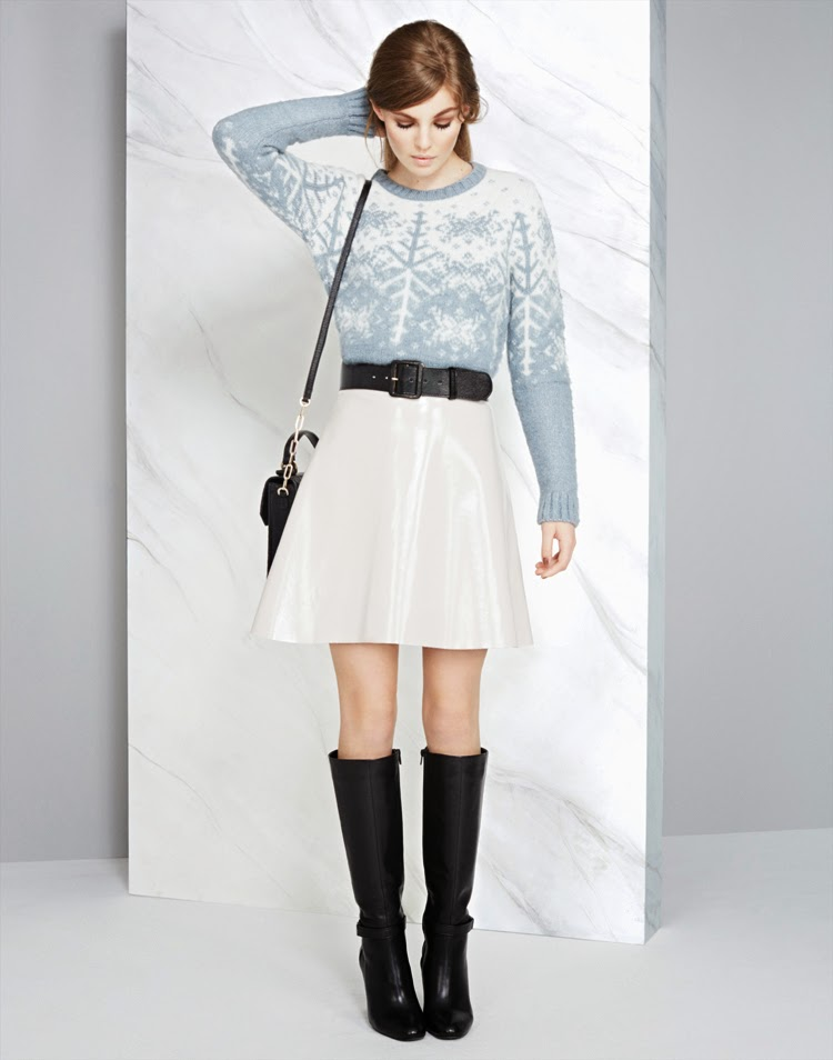 MARKS AND SPENCER LIMITED EDITION JUMPER £35, LIMITED EDITION SKIRT £39.50, BELT £15, BAG £79, BOOT £109