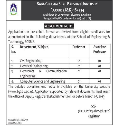 Baba Ghulam Shah Badshah University (BGSBU) Job Recruitment 2019