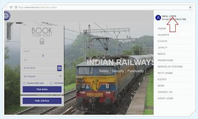 picture of login link on side bar menu on irctc website