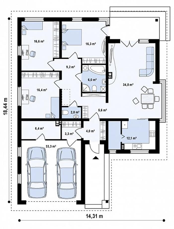 Mẫu thiết kế kiến tr biệt thự nghỉ dưỡng nhà vườn 132m2- 4