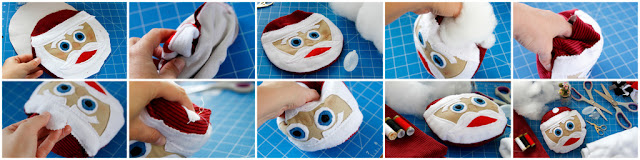 Step-by-step assembling and stuffing a Santa Claus DIY dog toy