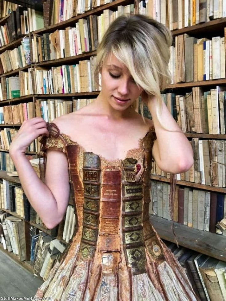 Dress with real book pages and bindings