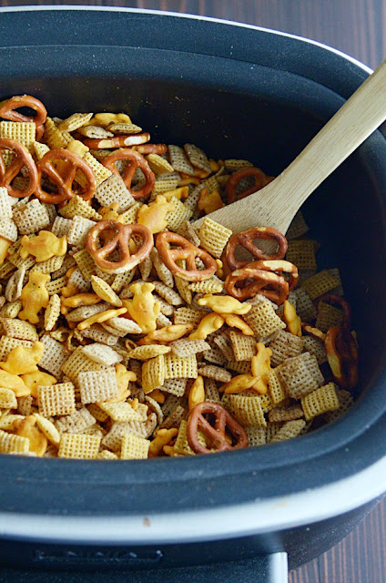 Classic Chex Mix made easier in the crockpot!