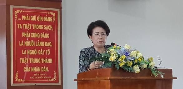 Bà Mỹ Thanh tại buổi tiếp xúc cử tri ở TP. Biên Hòa
