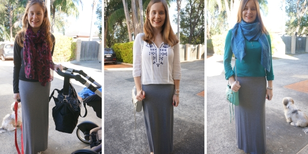 3 ways to wear grey maxi skirt and long sleeve tops | awayfromtheblue