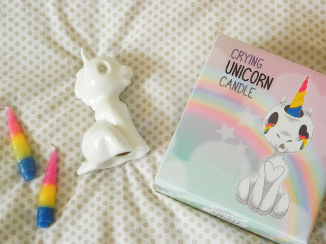 Firebox Crying Unicorn Candle- one porcelian unicorn with two rainbow horn candles