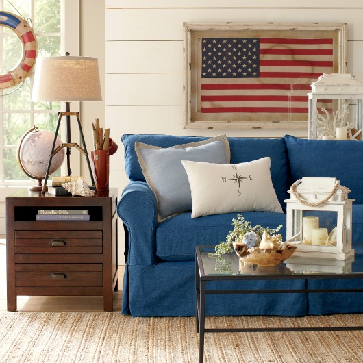 Blue Slipcover Sofa