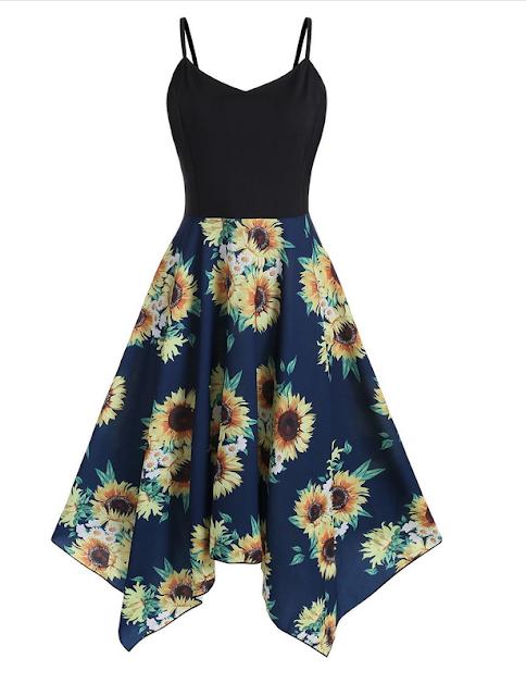 vestido azul marino con estampado de girasoles