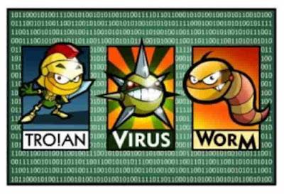 trojan, malware, worm, virus