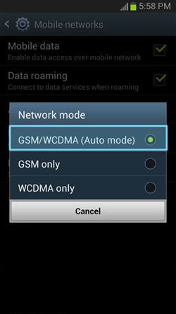 Samsung Galaxy S3: How to Select Network Mode