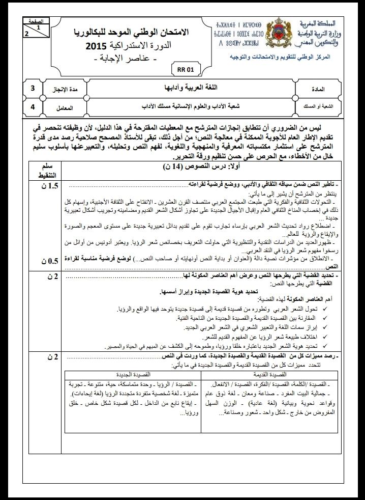الامتحان الوطني الموحد للباكالوريا / اللغة العربية، مسلك الآداب، الدورة الاستدراكية 2015