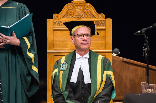 University of Alberta Chancellor Douglas Stollery presides from the Quaecumque Vera Chair for the first time.