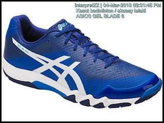 kasut ASICS GEL BLADE 6 untuk lelaki berwarna biru putih. Kasut ini sesuai untuk permainan badminton dan skuasy secara taktikal