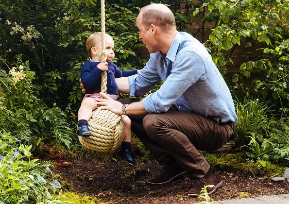 Prince George, and Prince Louis. Kate Middleton wore a & Other Stories dress, Princess Charlotte Rachel Riley Ditsy dress