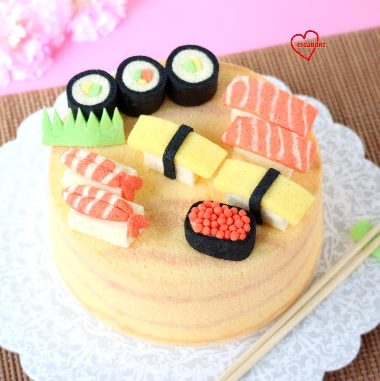 Loving Creations for You Sushi Woodstyle Chiffon Cake