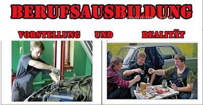 Berufsausbildung lustig Vorstellung und Realität Kfz Mechaniker witzig Azubi