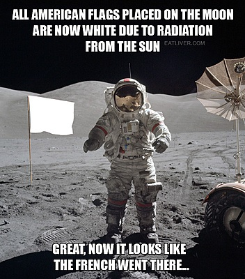 Astronaut and white flag on the moon