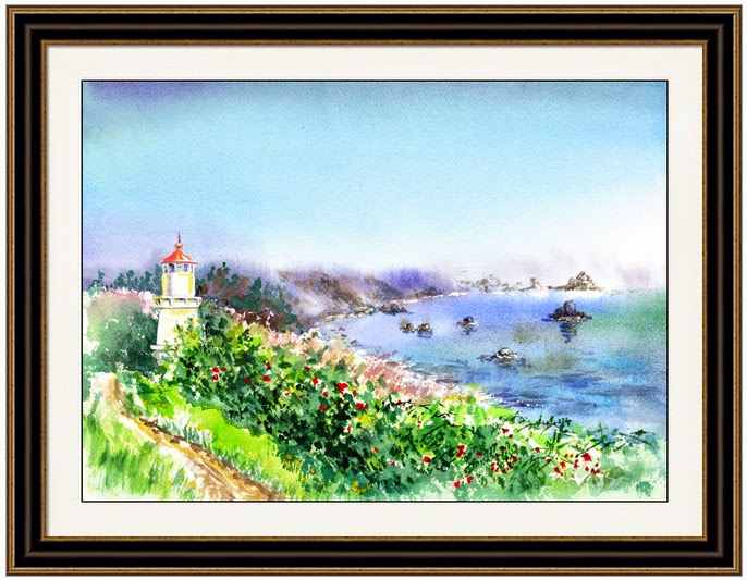 California Landscape Watercolor Painting
