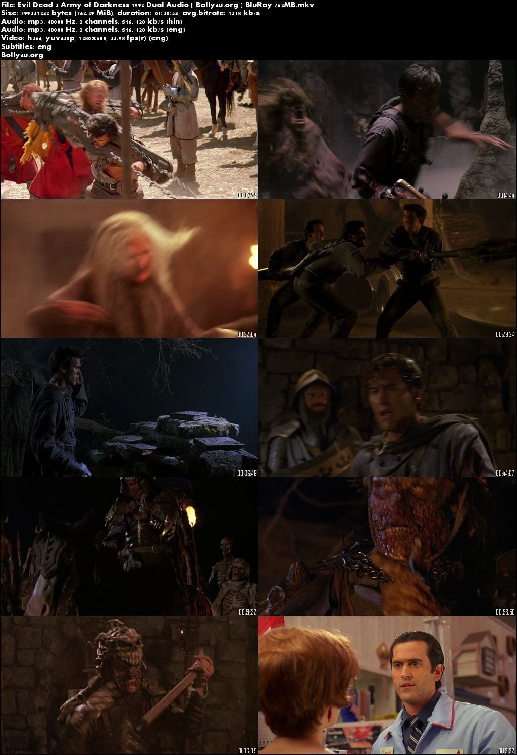 Evil Dead 3 Army of Darkness 1992 BluRay Hindi 720p Dual Audio 750Mb Download