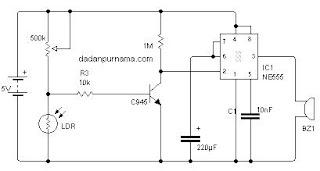 Skema Alarm dengan Laser dan LDR