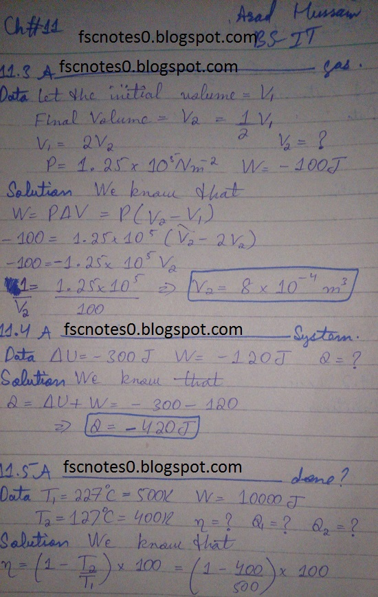 F.Sc ICS Notes: Physics XI: Chapter 11 Heat and Thermodynamics Numerical Problems Asad Hussain 1