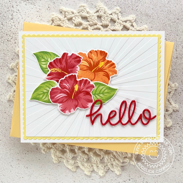 Sunny Studio Stamps: Hawaiian Hibiscus Frilly Frame Dies Fancy Frames Dies Hello Word Die Hello Card Aloha Card by Juliana Michaels and Angelica Conrad
