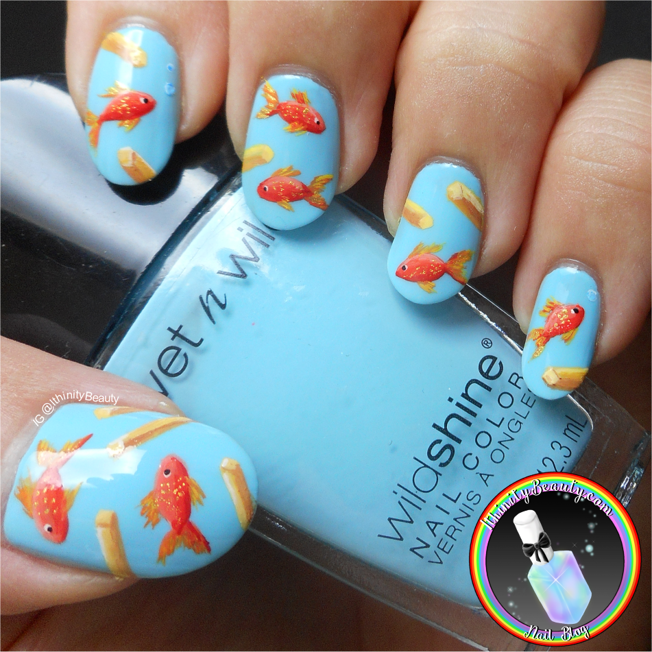 For this nail art I began with my usual base coat (Hey, no breaks in  like..over two years! - don't jinx it, Ithi!) of OPI's 'Nail Envy' and once  dry I ... - Freehand Fish & Chips - Food Nail Art IthinityBeauty.com Nail Art Blog