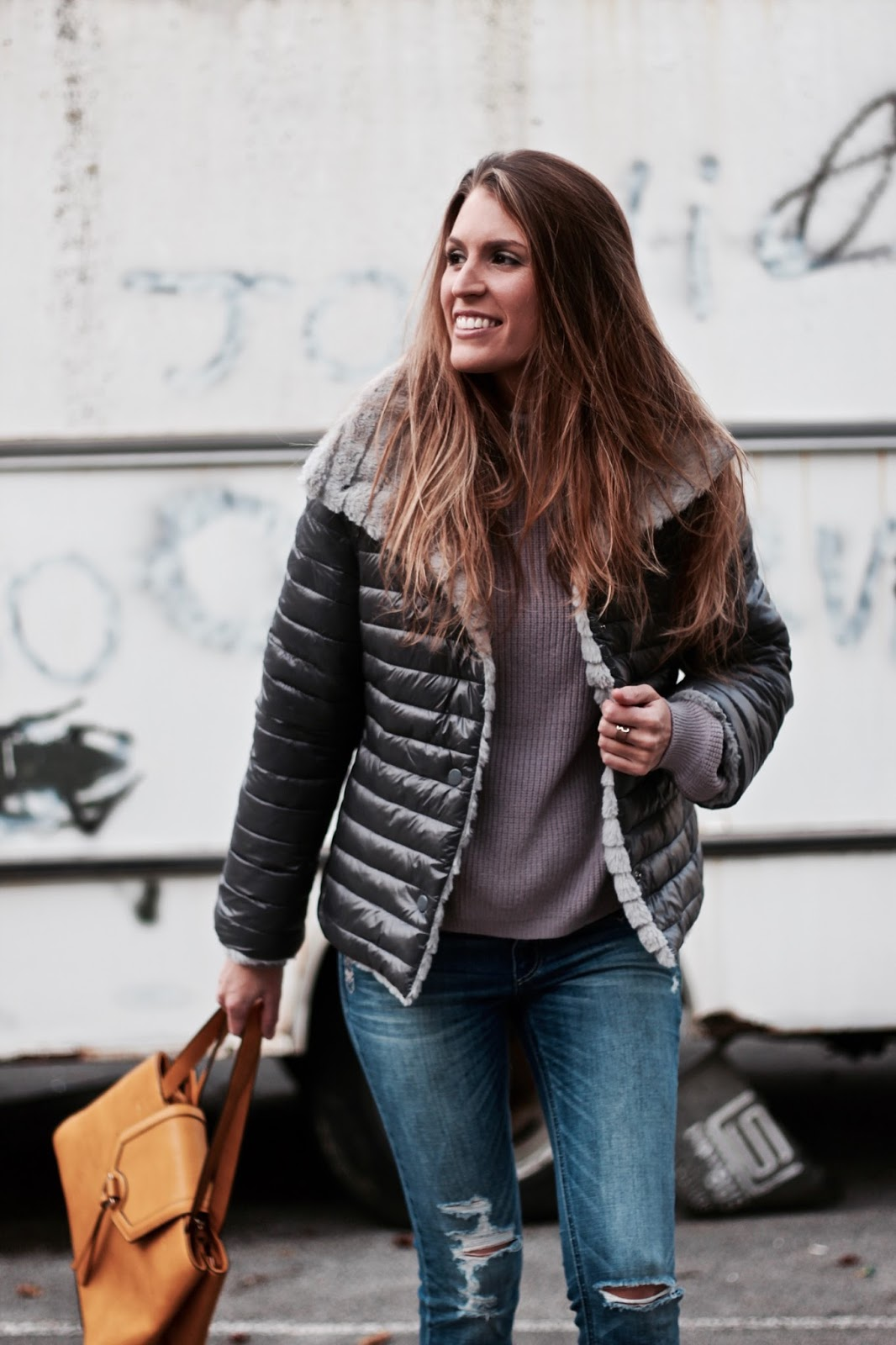 abrigo reversible gris