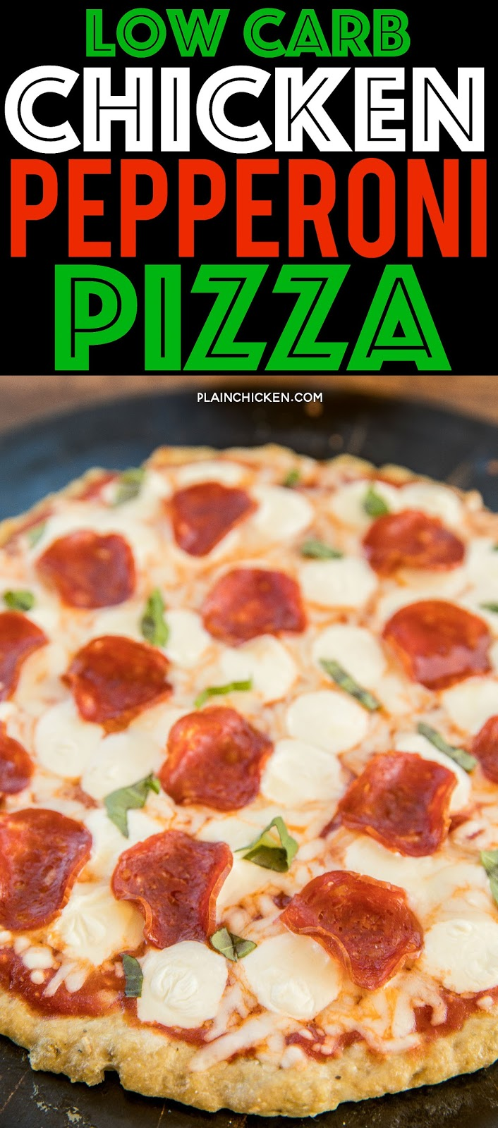 Low-Carb Chicken Pepperoni Pizza - CRAZY good!! All the flavor and none of the fat and carbs. The crust is made of ground chicken - sounds weird, but it is SO good! Ground chicken, parmesan, Italian seasoning, mozzarella, pizza sauce and pepperoni. We make this all the time. All the flavors of pizza without all the guilt! #pizza #lowcarb #chicken