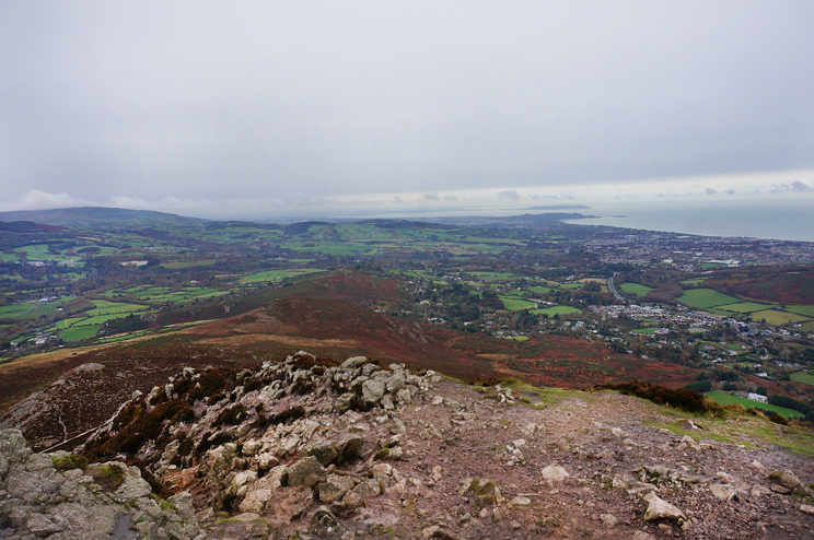 View towards Dublin from the top of Sugarloaf Mountain