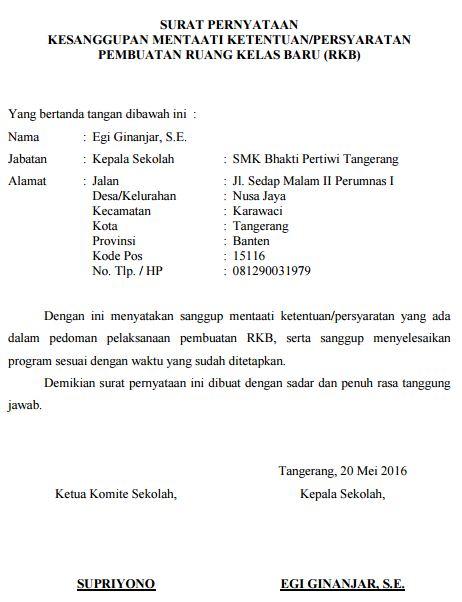Contoh Surat Kesanggupan Menaati Peraturan/Ketentuan Pembangunan Gedung