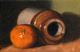 Oil painting of a mandarine beside and earthenware jar lying on its side.