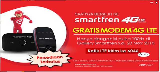 Promo Smartfren : Cuma Isi Ulang Pulsa 100rb ke Nomor Smartren Mu, Gratis Mifi Andromax M2Y/M2P, Buruan !!!!