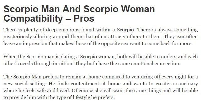 Scorpio dating scorpio in Perth