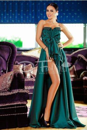 rochie lunga verde smarald fara umeri eleganta de seara