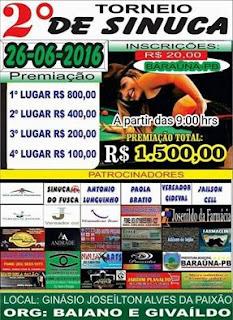 Vem ai o 2º Torneio de Sinuca em Baraúna; faça sua inscrição